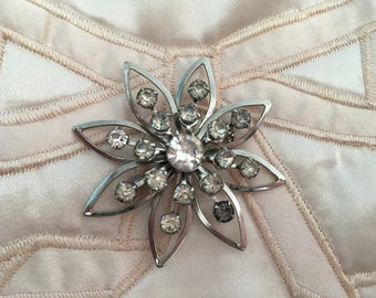 "Vintage 70's  ""STAR BURST BROOCH""  Pin in Silver Tone with Rhinestones"