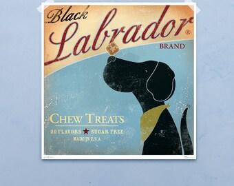 Black Labrador Chew Treats original illustration giclee archival signed artist's print by stephen fowler