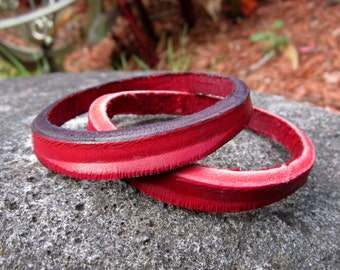 Bracelet/Bangles Red Set of TWO Upcycled Leather Jewlery