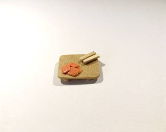 Set of four sashimi salmon miniature polymer clay