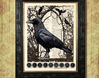"Dictionary Page Print: - ""Edgar Allan Poe - Nevermore"" - up-cycled vintage book page, Quoth the Raven print, Gothic, Halloween, Poe print"