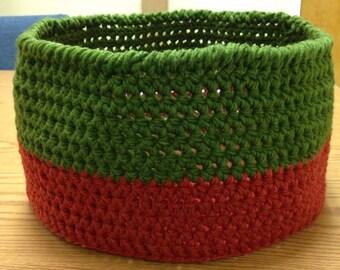 Crochet Basket, Large Crochet Basket, Red & Green Crochet Basket, Crochet Storage Basket, Christmas Basket, Towel Basket