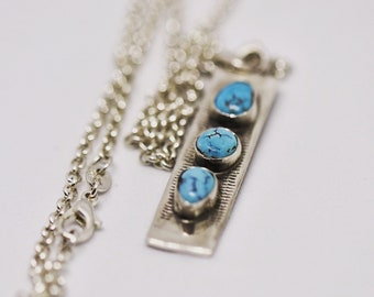 3 stone Nevada Blue Gem Turquoise Pendant Sterling Silver