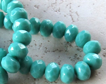 Czech Glass Beads 9 x 5mm Opaque Turquoise Blue Faceted Rondelles - 12 Pieces
