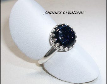 Blue Goldstone 10mm Ring in Sterling Silver