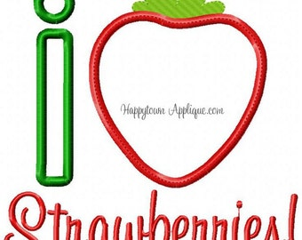 I Heart Strawberries Machine Embroidery Design