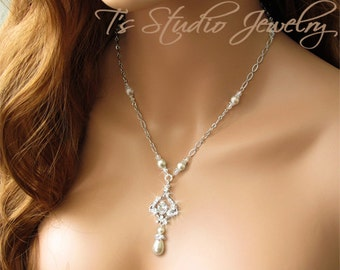Pearl and Crystal Chandelier Bridal Necklace Rhinestone Wedding Jewelry - JASMINE