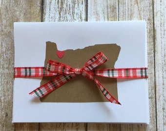 Custom State Love Notecards,  Set of 5 - Choose any state and city! Note Card, Greeting Card