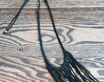 The Scarlett - long braided leather with soft leather fringe necklace