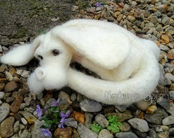 """Needle Felted Baby Curled Falkor Falcor the Luck Dragon from """"The Neverending Story"""" Talisman Fantasy Companion soft sculpture decoration"""