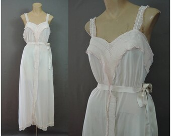 Vintage Pink Nylon Nightgown with Sheer Pleated Ruffles, 36 bust, 1950s