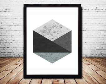 Hexagon Print Wall Posters Zen Poster Art  Poster Print Geometric Poster