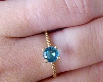 SALE! Round Tiny Ring - Blue Topaz Ring - December Birthstone Ring - Gemstone Ring - Stacking Ring - Gold Ring - Prong Setting Ring