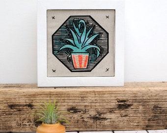 Mini Succulent AloeVera Framed Fabric Picture