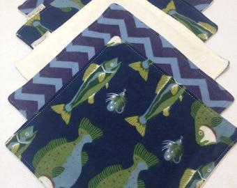 Organic cloth wipes, baby washcloths, organic bamboo, fish washcloth, flannel baby wipe, organic cloth wipe, fishing baby