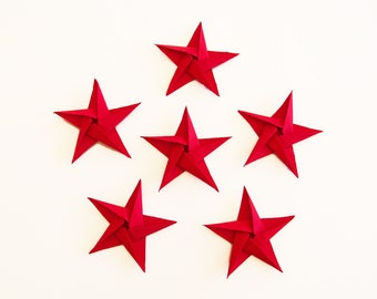 Set of 6 red origami stars