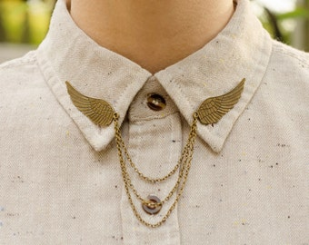 Bronze Bird Wing Collar Chain/ Cardigan Clip