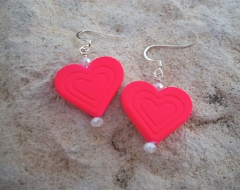 Heart Earrings Sizzling Hot Pink