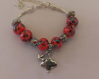 Charm's Red charm bracelet with Hope ref 306