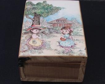 Small Vintage Wood Box, Girlfriends, Playing Outside, Trinket Box