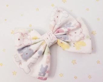 Kawaii Bunny Rabbits Hair Bow Clip - Fairy Kei Decora Pastel Goth Harajuku inspired