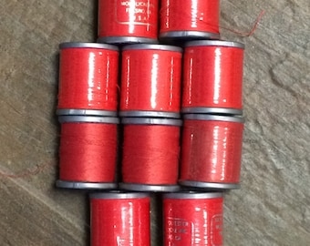 10 Red Thread / Vintage Red Thread Lot / Red Thread Lot / Thread Lot / Red Polyester Thread Lot