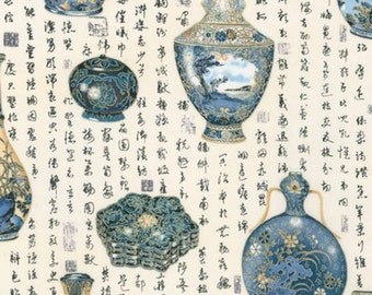 Asian Indigo Vase Fabric - Asian Traditions  for Robert Kaufman SRKM 1482462 - Blue Priced by the 1/2 yard