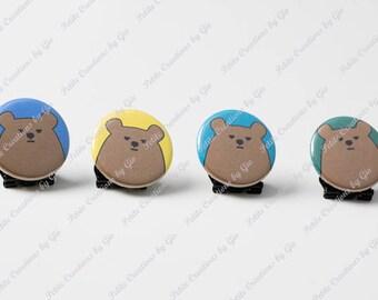 1.25 inch Pin Back Button - Grumpy Bear Face