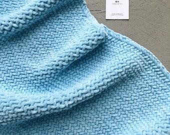 Blue Plush baby blanket Hand knit baby blanket Baptism blanket Organic baby blanket Security blanket  Receiving blanket Stroller blanket Car