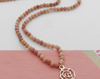 Genuine Rhodonite and Silver Flower necklace