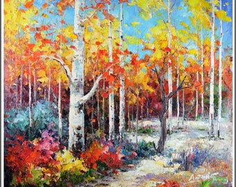 """Large 40""""x40"""" Russian Landscape Gorgeous Painting Signed Original Impressionist Oil On Canvas"""