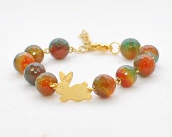 RESERVED Bunny Bracelet Rabbit Jewelry Tessa -Golden Bunny Jewelry Rabbit Bracelet -Bunny Beaded Bracelet -Pet Bunny Rabbit- Woodland Animal