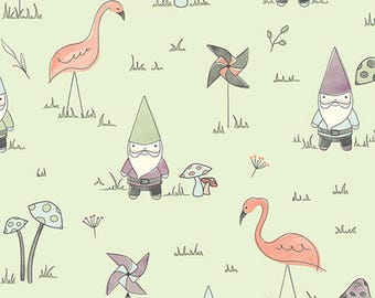 Gnome Fabric, Flamingo, Garden Fabric - Gnome Matter What! by Ink & Arrow For Quilting Treasures - 25836 Seafoam - Priced by the 1/2 yd