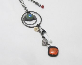 Charm Pendant   Fused Glass   Bohemian   Crystals   Chain Necklace   Gift Under 50    Tassle Pendant   Buddha Jewelry   Sparkly Glass