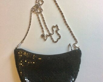 Black Beaded Evening Clutch Purse with Silver Chain