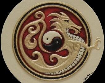 Iron Dragon -  Cast Paper - Fantasy art - Asian Dragon - Eastern Dragon - Drake - Draco - Gold Dragon -  yin yang - martial arts gift