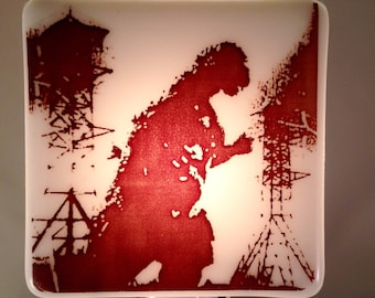 Godzilla Night Light Fused Glass