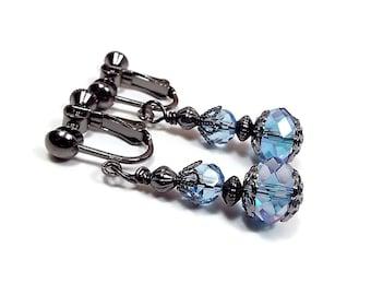Clip on Earrings, Light Blue Earrings, Crystal Earrings, Faceted Glass Beaded, Drop Earrings, Formal Elegant, Fall Jewelry