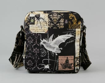 Nevermore Gothic Bat Small Crossbody Bag, Zipper Closure, Fabric Purse with Pockets, Goth Halloween, Witch Potion Bottles, Black Brown