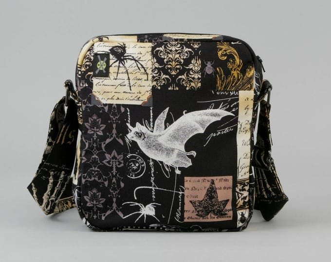Nevermore Gothic Bat Small Crossbody Bag, Zipper Closure, Fabric Purse with Pockets, Witch Potion Bottles, Black and Brown