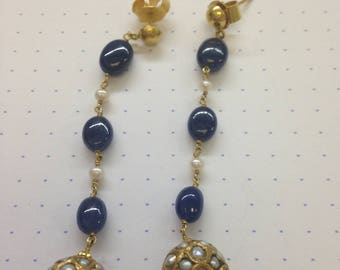 Indian Wedding Earrings with Sapphires and Pearls