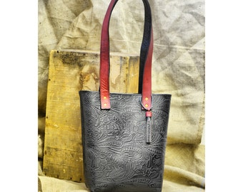 Tooled Leather Shopping Tote Bag - Two Tone Western Floral Print Black Leather Purse with Fuchsia Accents