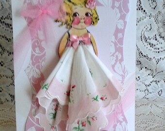 Dolly Dingle Paper Doll Hanky Card Rosi