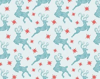 Nordic Holiday - Small Reindeer Light Blue - 1 yd