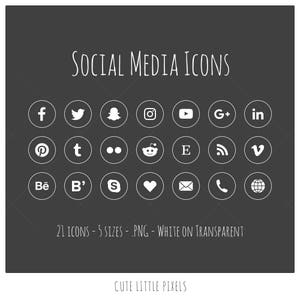 Social Media Icons - 21 icons in 5 sizes, PNG files, white social media icons
