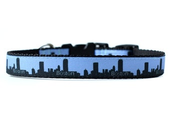5/8 or 3/4 Inch Wide Dog Collar with Adjustable Buckle or Martingale in Boston (Blue) an Exclusive Design