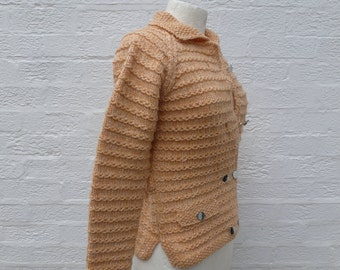 Chunky top small cardigan knitted 1990s wool blend, vintage handknit ladies pastel cardigan.