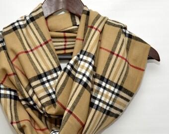 Plaid scarf/Plaid Infinity scarf,Beige scarf, Camel infinity scarf, tartan scarf, Scottish scarf / Scottish infinity scarf