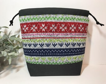Small Knitting Crochet Project Bag in Fair Isle