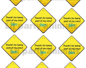 DIY Printable Construction Party Thank you tags